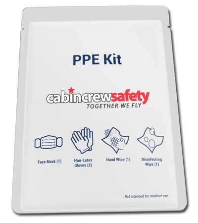 Airline Passenger PPE kit for aircraft cabin use.