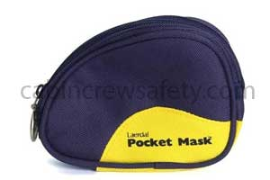 CPR Pocket Mask with O2 Inlet and Blue Soft Pouch for sale online